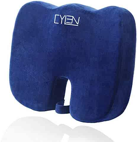 CYLEN -Memory Foam Bamboo Charcoal Infused Ventilated Orthopedic Seat Cushion for Car and Office Chair - Washable & Breathable Cover (Grayish Blue)