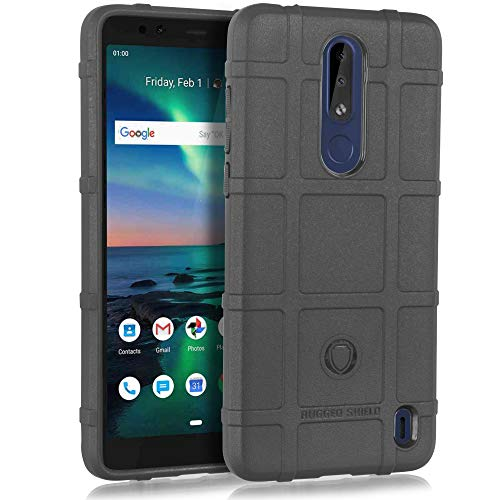 (Compatible for Nokia 3.1 Plus, with [Tempered Glass Screen Protector] Slim Fitted Grooved Shockproof Shell Rugged Shield Impact Cover (Black))
