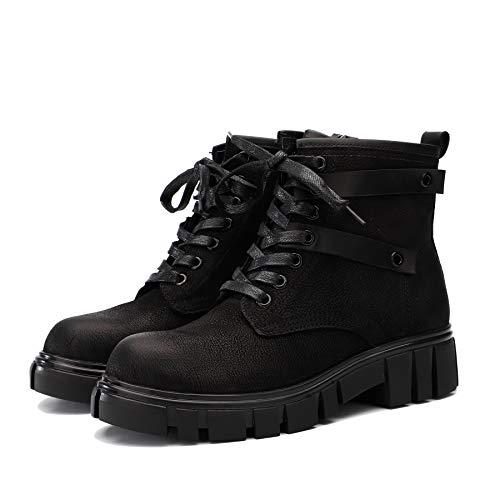 Femme Fermeture Chaussures pour Nubuck Bas Bottes Bottines Cuir Talon Western éclair en à Plateforme Noir à Vintage Martin Lacets à Pqx6XB