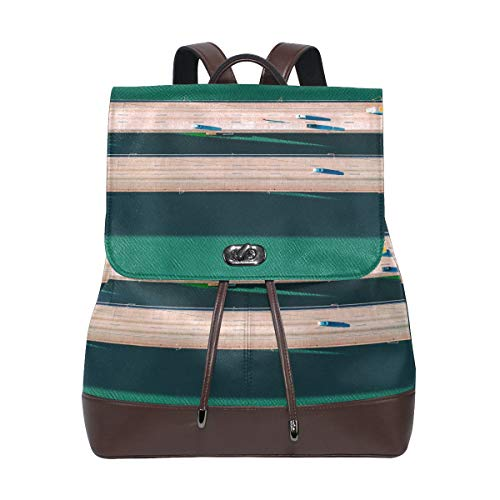MONTOJ Green Water Road Bridge Leather Travel Bag Campus Backpack