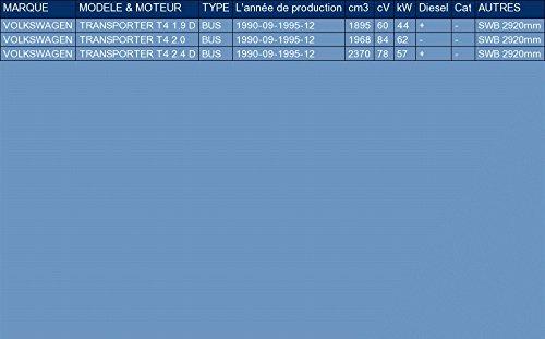 pour TRANSPORTER T4 1.9 D 2.0 2.4 D BUS 60//84//78hp 1990-1995 ETS-EXHAUST 5629 El sistema de silenciadores