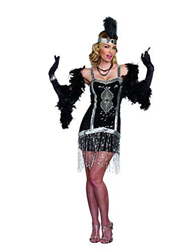 Dreamgirl Women's Simply Fab 1920's Flapper Costume, Black, Medium