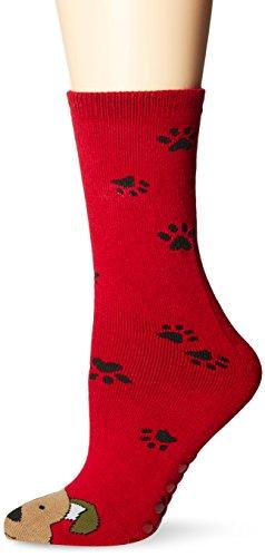 Tubular Novelty Socks-Dog -Red W/Paw Prints