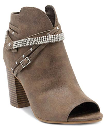 Sugar Women's Mainstay Dress Block Heel Ankle Boot Ladies Peep Toe Bootie with Studs Buckles and Straps Natural 9 ()