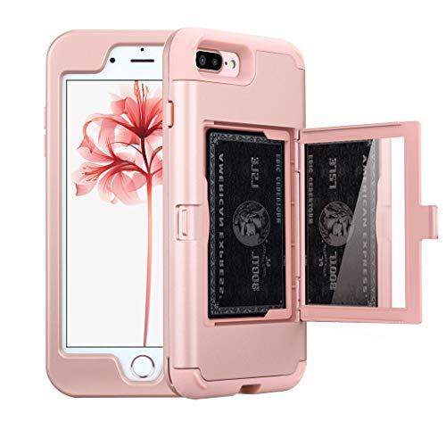 NOKEA Mirror Wallet Case Card Slot Hidden Pocket Layered 3 in 1 Hard PC Case Silicone Shockproof Heavy Duty High Impact Armor Hard Case for iPhone 7 Plus (Rose Gold) ()