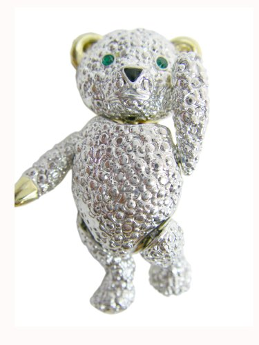 (Silver Tone Teddy Bear Pin)