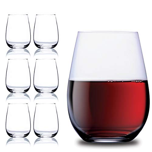Wine Glass Cup - Chef's Star 15 Ounce Stemless Wine Glasses Set - Classic Durable Wine Cups Ideal for All Occasions - Packaged in a Gift box - Top Gift Idea! - Shatter-Resistant Glass (6 pack