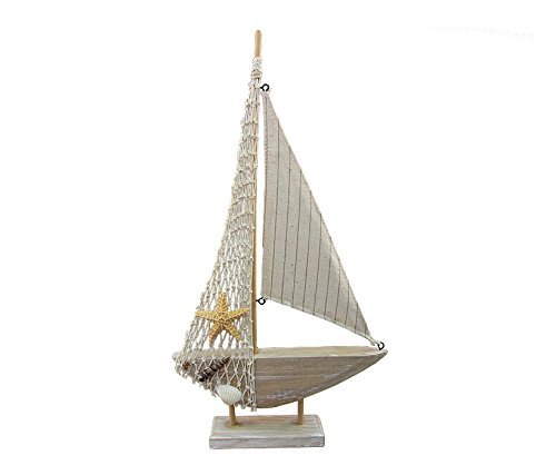 CoTa Global Classic Wooden Mini Sailboat Replica 8.25″Lx1.4″Wx15″H Nautical Decor Quality Wooden Art Decorative Aquatic Ocean Marine Decor Rustic Wood Small Ship Fishing Boat w/ Net & Starfish Design