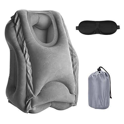 Homexjy Travel Pillow Air Cushion Pillows Travel Neck Inflatable Ergonomic and Portable Head Neck Rest Pillow for Airplanes Buses Office Napping