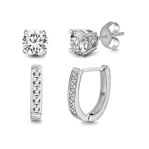 (Devin Rose Rhodium Plated Sterling Silver Stud & Hoop Duo Earrings Set for Women made With Swarovski Crystals)