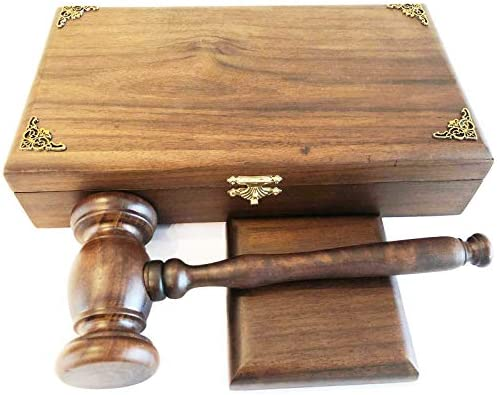 Deluxe Boxed Gavel Square Block Set Stylish Design Handmade