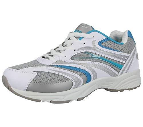 Ladies 816109Galop Mesh Lace Up Formadores ligero Casual comodidad deportes gimnasio Zapatillas de running Blanco/Azul/Gris