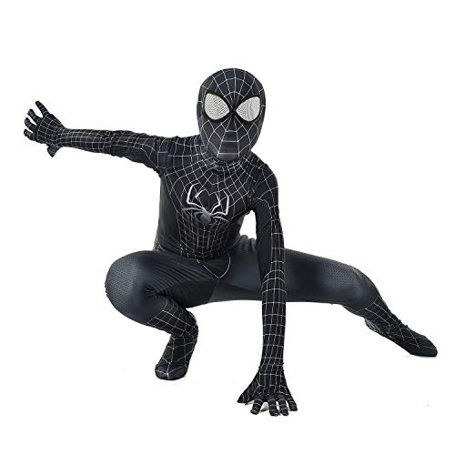 Kid Black Spider-Man Costume Mask with Lense -