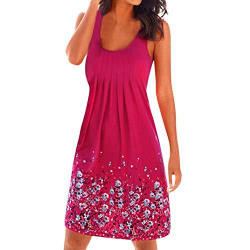 Tunic Dresses,Caopixx Women Summer Printing Sleeveless Evening Party Dress Beach Vest Dress ()