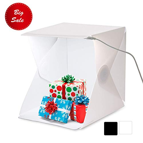 (Amzdeal 16in Photo Studio Tent Fordable LED Light Box Photography Kit with White Black Backdrops)
