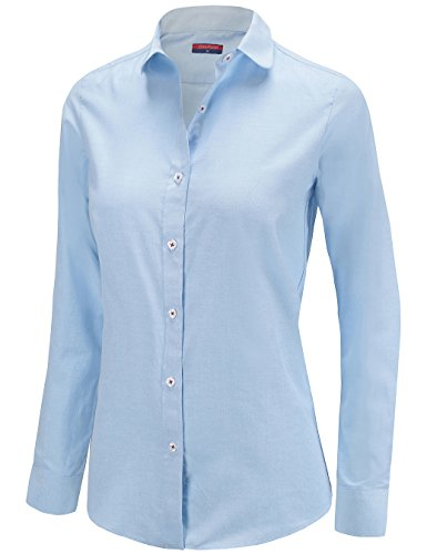 Dioufond Womens Oxford Long Sleeve Button Down Shirts Casual Office Blouse (US L-Tag XXL, Blue) ()