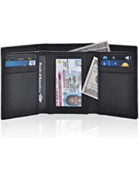 Slim RFID Wallets for Men - Genuine Leather Front Pocket Trifold Wallet (Pebble with Dustbag Leather, Coal)