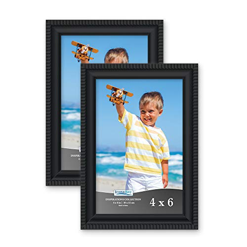 Icona Bay 4x6 Picture Frames (2 Pack, Black) Picture Frame Set, Wall Mount or Table Top, Set of 2 Inspirations ()