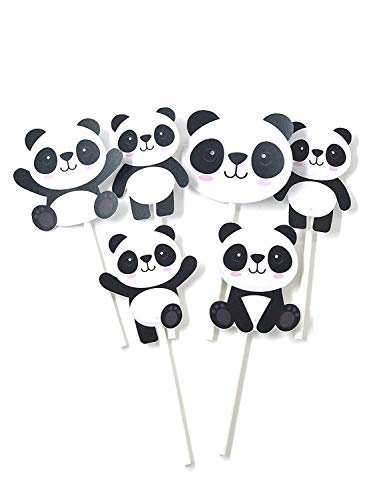 Panda Cupcake Toppers 12pcs - Girl Bear Cake Picks Birthday Decoration Party Supplies, Pink Baby Shower Themed]()