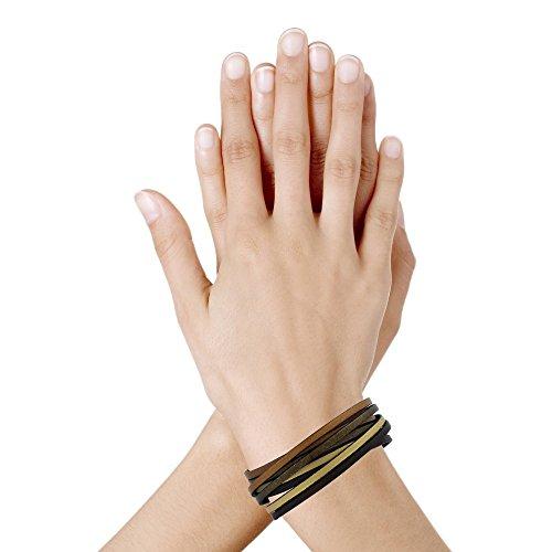 Les Poulettes Bijoux - Bracelet Femme Cuir Quatre Lanières Or