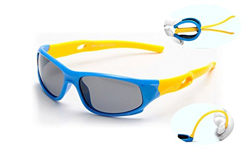 Price comparison product image Kids TR90 Flexible Silcon Polarized Sport Sunglasses with UV400 For Boys Girls Childern Age 3-14 VIVIC (blue/yellow)