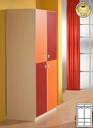 Kleiderschrank Schrank Kinderzimmer 169229 Ahorn Rot