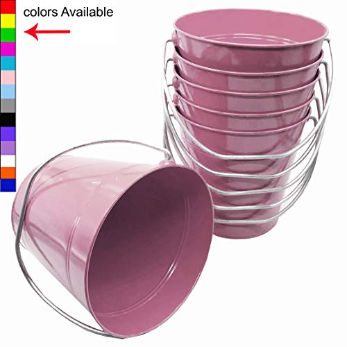 Italia 6-Pack Metal Bucket 3.7 Quart Color Pink Size 7.5 x 7.5""