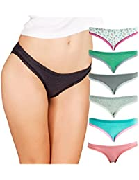 Womens Bikini Underwear (6-Pack) Seamless Breathable Cotton Panties