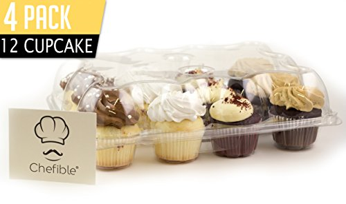 Chefible Premium 12 Cupcake Carrier Container Box, High Dome, Extra Sturdy For Easy Transport! 4 Pack