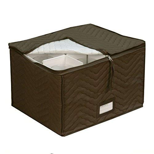Wine Glass Goblets Deluxe china Storage Chest- Holds 12 Stemware Glasses-Brown Quilted Microfiber fabric-Protect your valuable glassware from scratches and cracks–by Richards ()