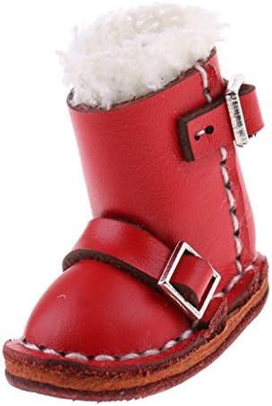 12インチブライスドール用 人形用服 靴 シューズ バックルブーツ PUレザー 3カラー - レッド