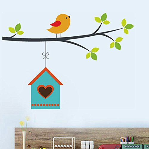Decals Design Hanging Bird House Wall Sticker (PVC Vinyl, 25 cm x 70 cm)