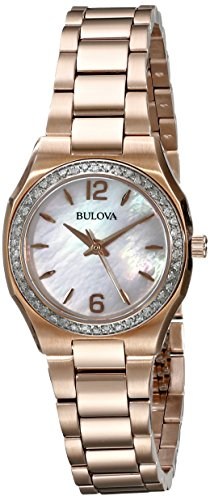 Bulova Women's 98R205 Diamond Gallery Analog Display Japanese Quartz Rose Gold Watch