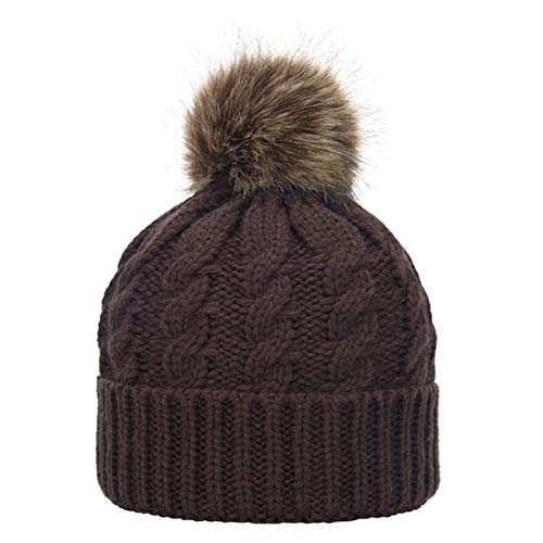 5f878f8ff14 Janrely Womens Winter Hand Knit Faux Fur Pompoms Beanie Hat