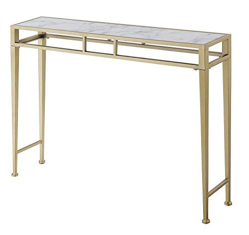 Convenience Concepts Console Table, White Faux Marble/Gold Frame