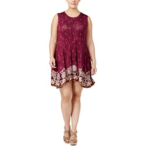 (Style & Co. Womens Plus Paisley Printed Tunic Dress Purple 3X)