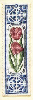 Textile Heritage Collection Cross Stitch Bookmark Kit - Delft Tulips by Textile Heritage