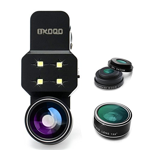 OXOQO Camera Lens Kit with LED Light, 3-in-1 Fish Eye Angle