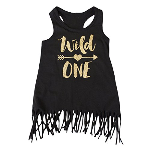 Wild One Girls 1st Birthday Dress Black and Gold Fringe Dress