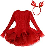 Toddler Baby Kids Girls Christmas Solid Warm Sweater Knit Crochet Ruffle Tulle Xmas Dress Hairband
