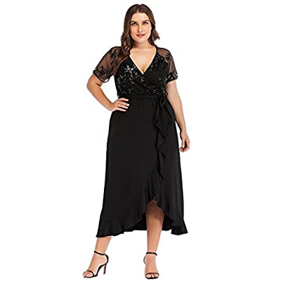 ESPRLIA Women's Plus Size V-Neck Stretch Lined Floral Flare Sequin Casual Party Cocktail Dress