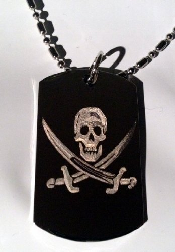 Pirates Polish High (Skull Jolly Roger Pirate Cross Swords Logo Symbols - Military Dog Tag Luggage Tag Key Chain Metal Chain Necklace)