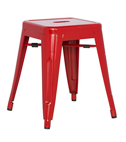 Chintaly Imports Red Galvanized Steel Backless Stools, Set of 4 -
