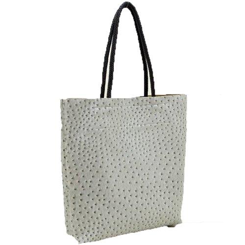 Designer Inspired Ostrich Dual Bags Pockets L Satchel Shoulder Handbag Tote
