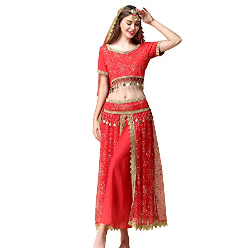 Arabian Party Dress (Belly Dance Costume Bollywood Dress Indian Halloween Chiffon Dance Outfit Costumes with Head Veil for)
