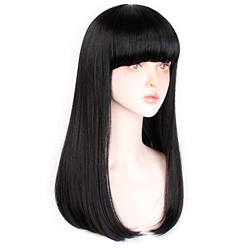 AISI QUEENS Long Bob Wig with Bangs Black Straight Fiber Synthetic Heat Resistant Natural Hair for Women(1b)
