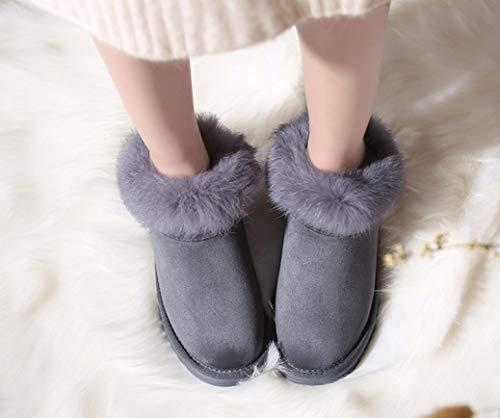 Antideslizantes Piel Botas Nieve Cortas Cálido Felpa Antibalas De Mujer Liangxie Conejo Invierno Gris Para Algodón qg1tnvW