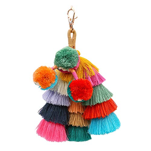 (Pom Pom Tassel Keychain for Women Car Mirror Hanging Keyring Accessories Bag Charm for Sisters Friends Kids)