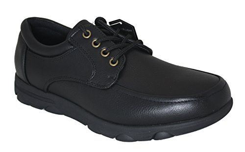 Gelato Moc Toe Lace up Slip & Oil Resistant Men's Comfort work Shoe With Water & Stain Resistant Upper Black 10 D(M) US