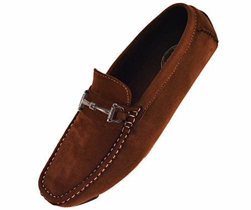Amali Mens Plush Microfiber Faux Suede Loafer Driving Shoe with Buckle Style Norwalk, Walken, Knotter Brown